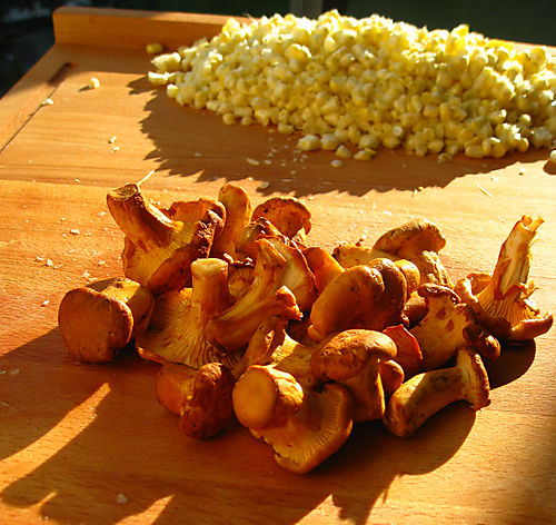 Golden Chanterelle Mushrooms and Sweet Corn